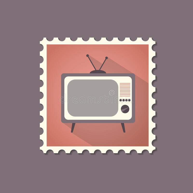 Retro stylowy telewizoru mieszkania znaczek z cieniem ilustracji