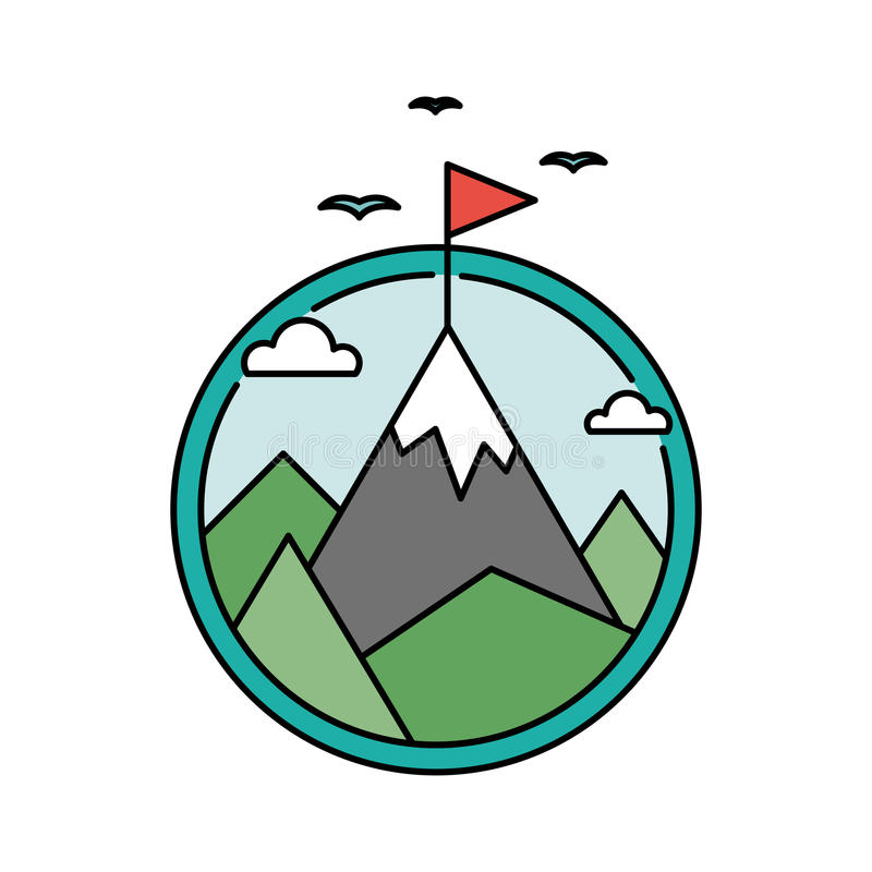 Retro success circular icon with mountain and flag, goal achievement business concept. Vector stock illustration