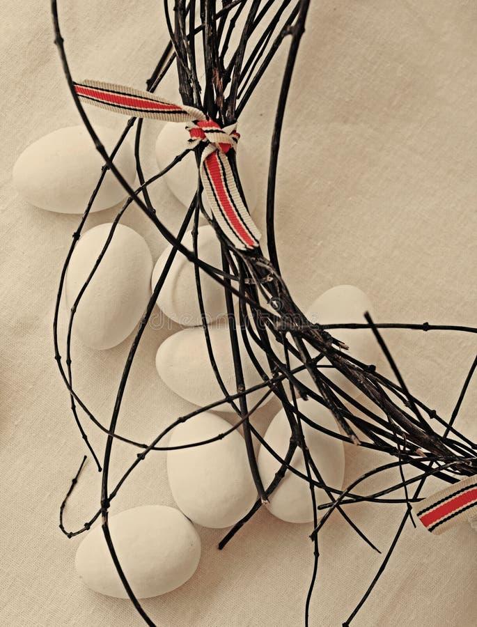 Retro Sugar Eggs On Linen Stock Image