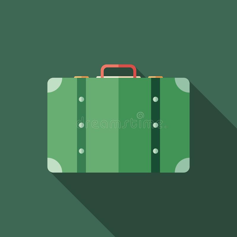 Retro suitcase flat square icon with long shadows. vector illustration
