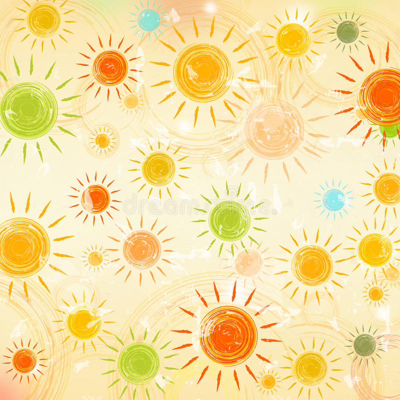Retro Summer Background With Motley Suns Stock ...