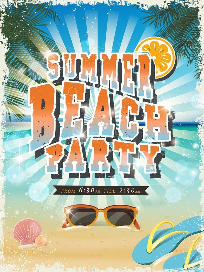 Retro summer beach party poster stock illustration