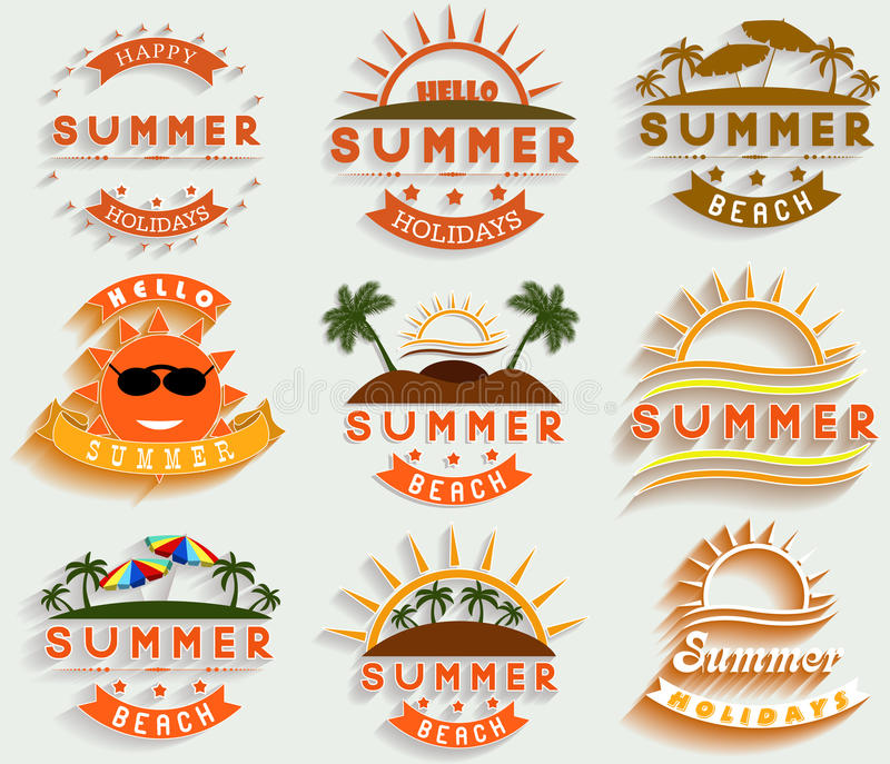 Retro summer holidays labels and signs Vector illustration design elements royalty free illustration