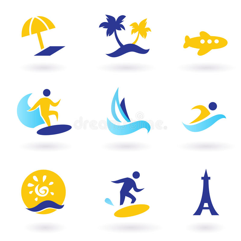 Retro Summer, Travel And Water Sports Icons Stock Image