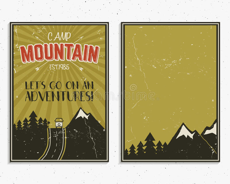 Retro summer or winter holiday posters. Travel and vacation brochure. Camping promotional banner. Vintage RV, mountains. Trees, arrows vector design concept royalty free illustration