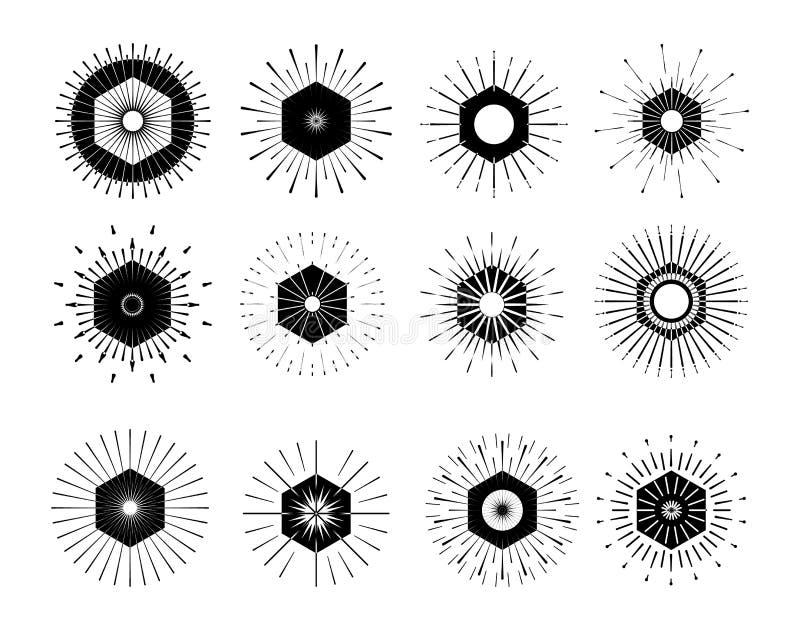 Download Retro Sun Burst Shapes Vintage Logo Labels Badges Vector Des Stock