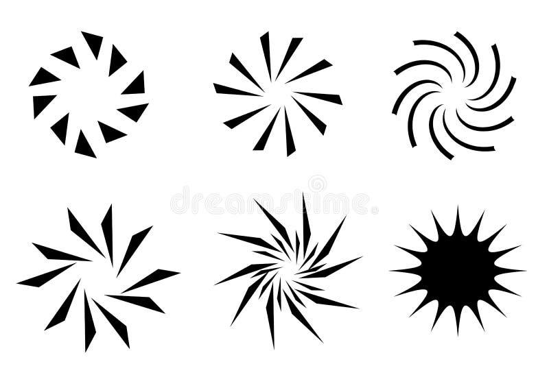 retro sun för symboler stock illustrationer