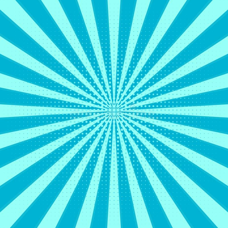 Retro Sunburst background. Centric blue vector pattern, Sun lines with dots . Flat Rays illustratio royalty free illustration