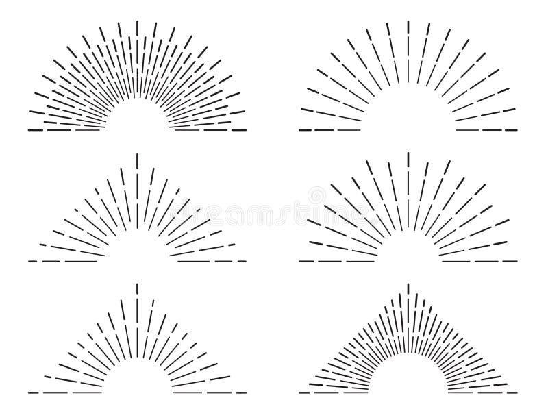 Retro sunburst frames. Vintage radiant sun rays. Firework flame burst lines. Abstract sunshine vector illustration set stock illustration