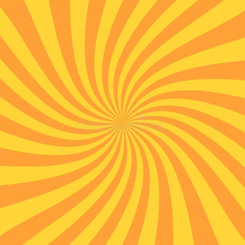 Retro sunburst promień w rocznika stylu Ślimakowaty skutek Abstrakcjonistyczny komiksu tło ilustracja wektor