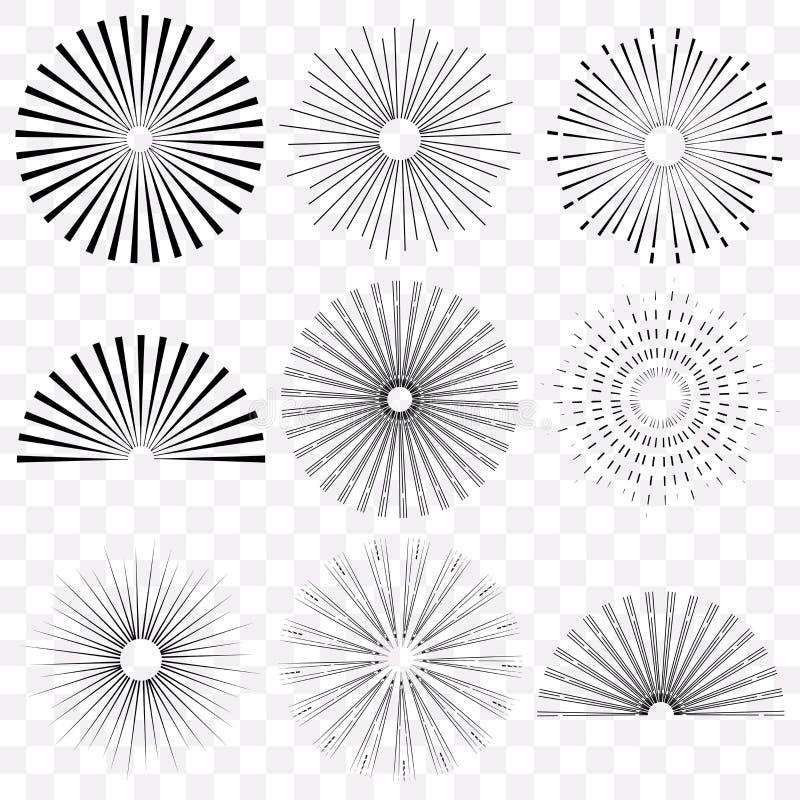 Retro sunburst, radiant and colored set. Retro sunburst, radiant starburst, vintage abstract sunshine line vector set. Isolated on transparent background stock illustration