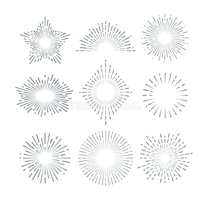 Retro sunburst, radiant starburst, vintage abstract sunshine line vector set. Sun ray linear, illustration of radiant abstract ray royalty free illustration