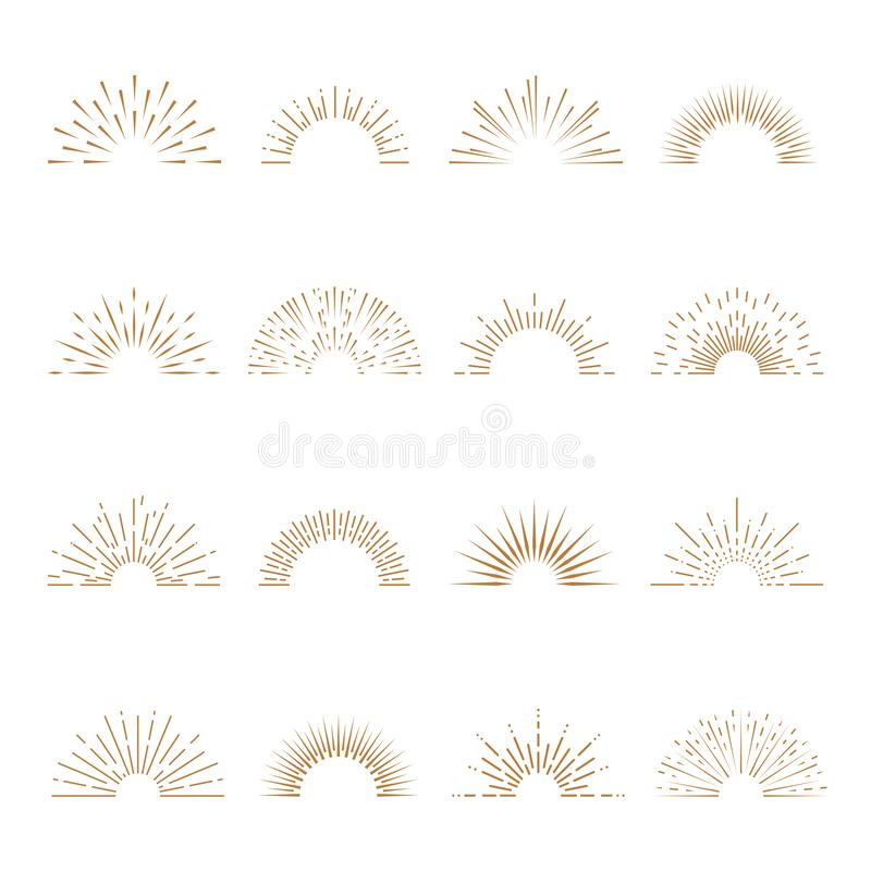 Free Retro Sunburst. Sunrise Firework Sunset Blast Sunbeam Abstract Burst Emblem Sun Ray Shape Explosion Bursting Vintage Royalty Free Stock Image - 138335376