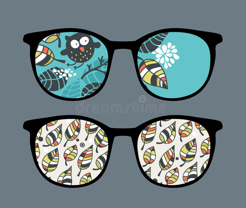 Retro sunglasses with owl reflection in it. Retro sunglasses with owl in leaves reflection in it. Vector illustration of accessory - eyeglasses isolated vector illustration