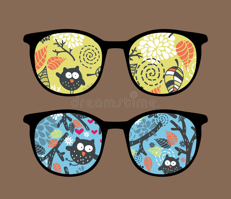 Retro sunglasses with owl reflection in it. Retro sunglasses with owl on the tree reflection in it. Vector illustration of accessory - eyeglasses isolated stock illustration