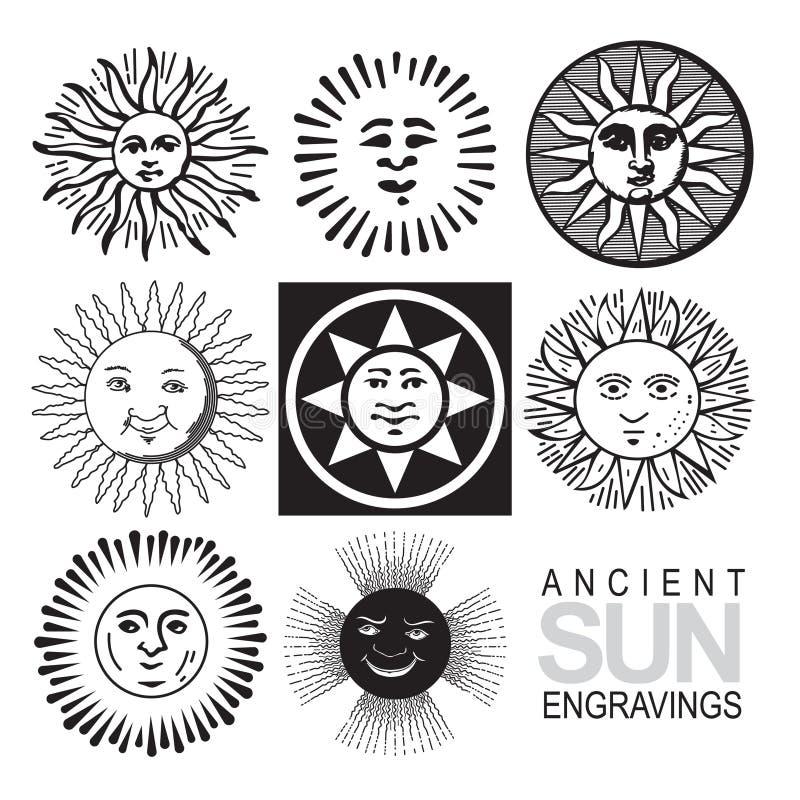 retro sunvektor för symboler royaltyfri illustrationer