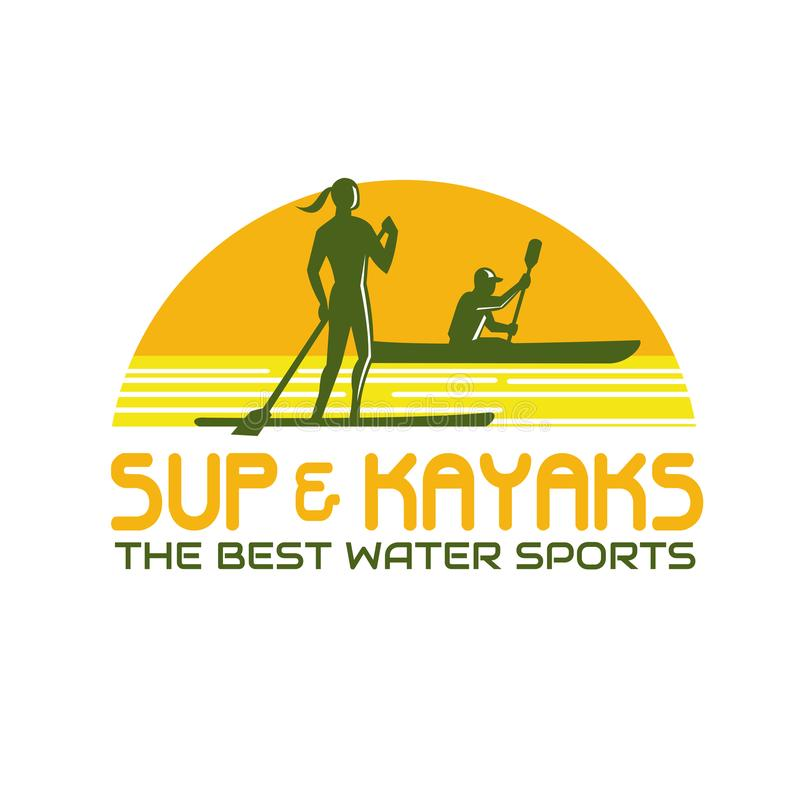 Retro SUP- och kajakvattensportar royaltyfri illustrationer