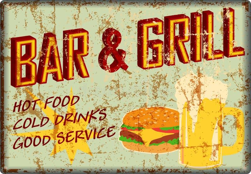 Retro super grungy stary prętowy i grill gościa restauracji znak, amerykański rocznika stylu wektor royalty ilustracja