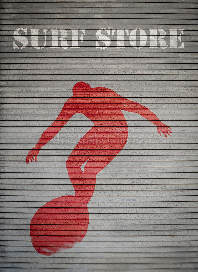 Retro Surf Store Sign. Retro Filtered Surf Store Sign On Grungy Shutters stock image