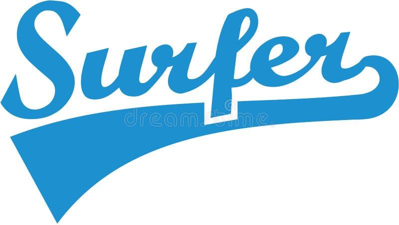 Retro surferwoord stock illustratie
