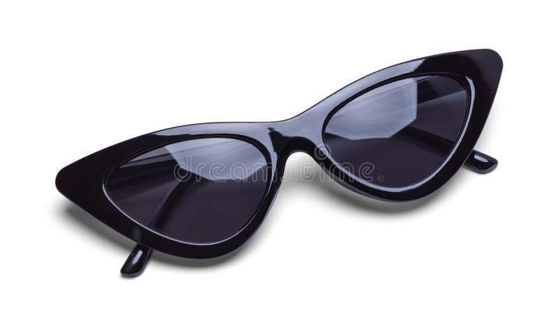 Retro svart solglasögon för flickor royaltyfri bild