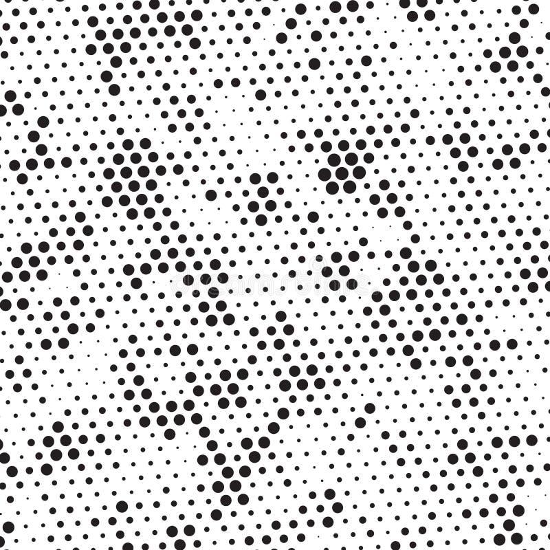 Retro svartvit rastrerad Grungepolka Dots Mess Background Pattern Texture royaltyfri illustrationer