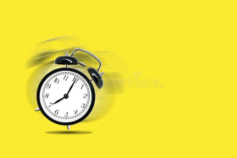 Retro sveglia nera che avvisa a sette in punto su fondo giallo illustrazione vettoriale