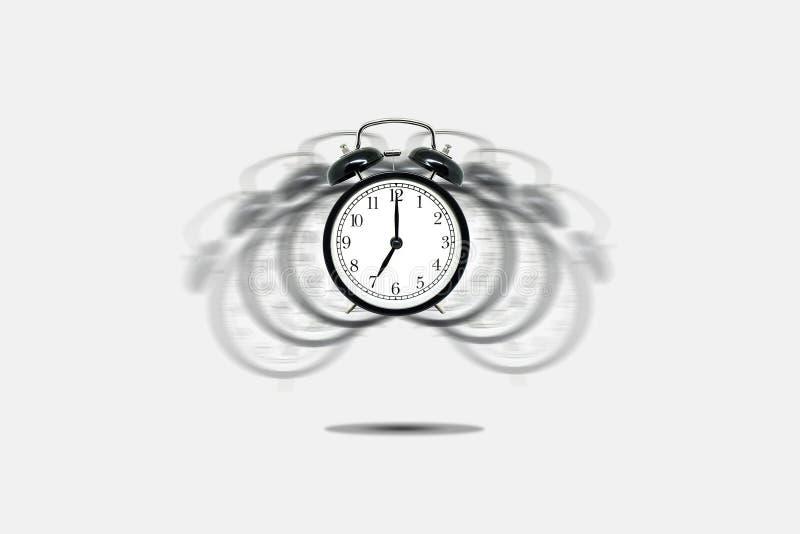 Retro sveglia nera che avvisa a sette in punto su fondo grigio illustrazione vettoriale