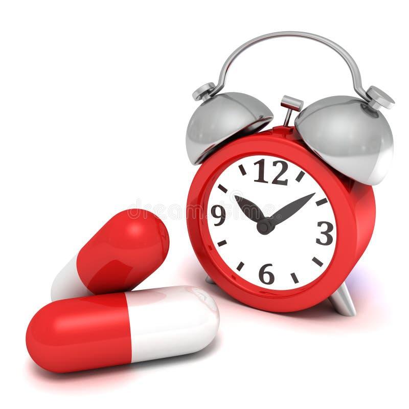 Retro sveglia rossa e grandi pillole della medicina immagine stock libera da diritti