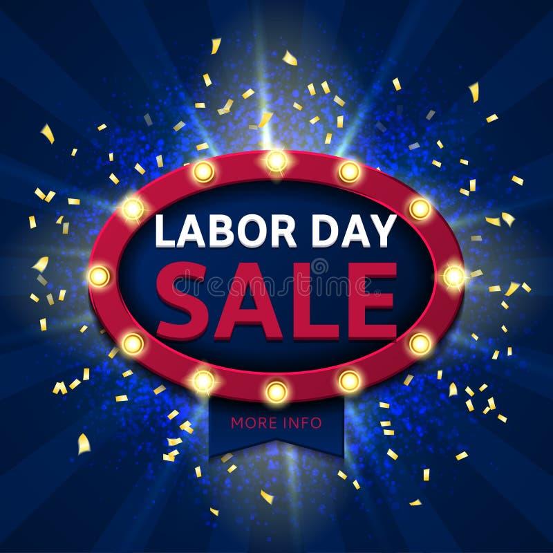 Retro symbol för försäljning för arbets- dag royaltyfri illustrationer