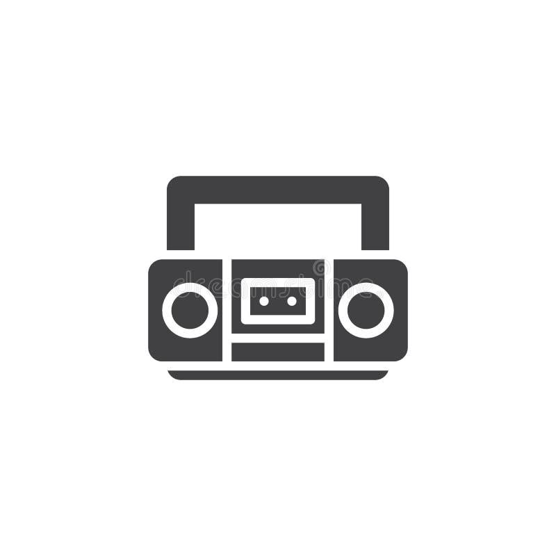 Retro symbol för kassettbandspelarevektor royaltyfri illustrationer