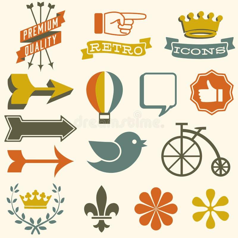 retro symboler vektor illustrationer