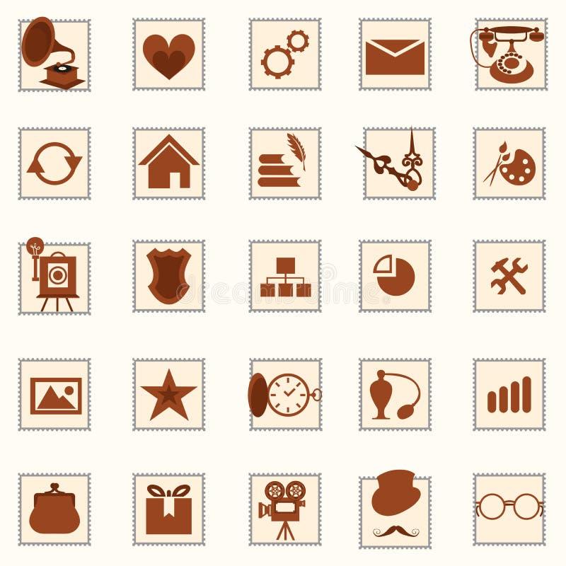 Retro symbolsuppsättning vektor illustrationer