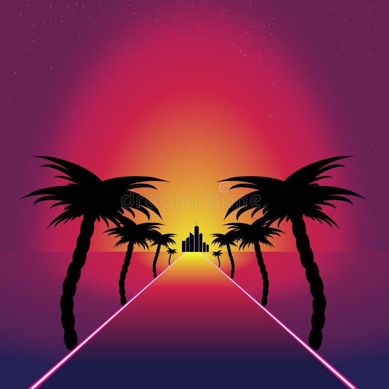 Retro synthwave retro ontwerp Weg aan zonsondergang stock illustratie