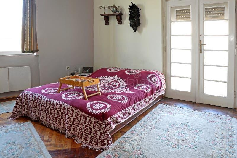 Retro sypialnia dom zdjęcie stock