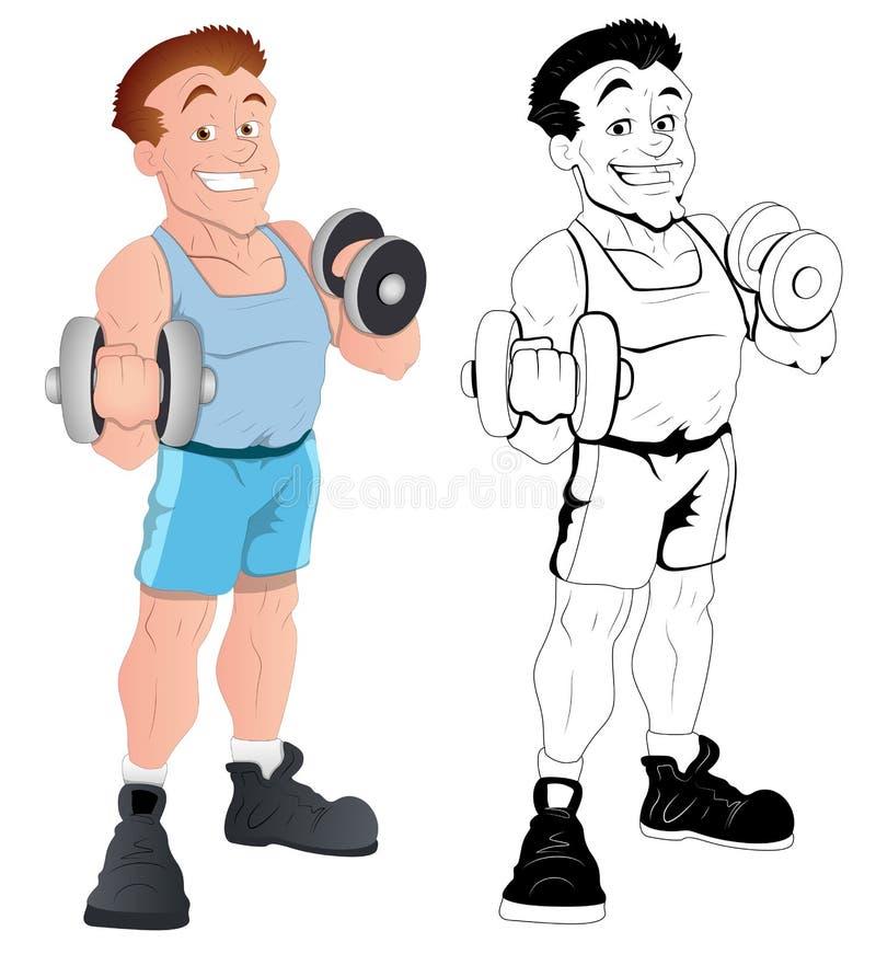 Retro Szczęśliwy Męski Bodybuilder wektor ilustracja wektor