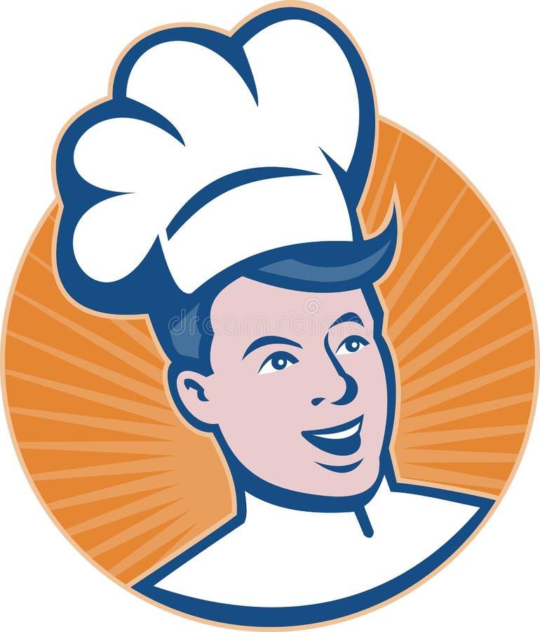 retro szef kuchni piekarniany kucharz royalty ilustracja