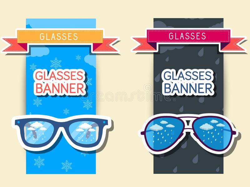 Retro szkło sztandary Wektorowy ilustracyjny projekt ilustracja wektor