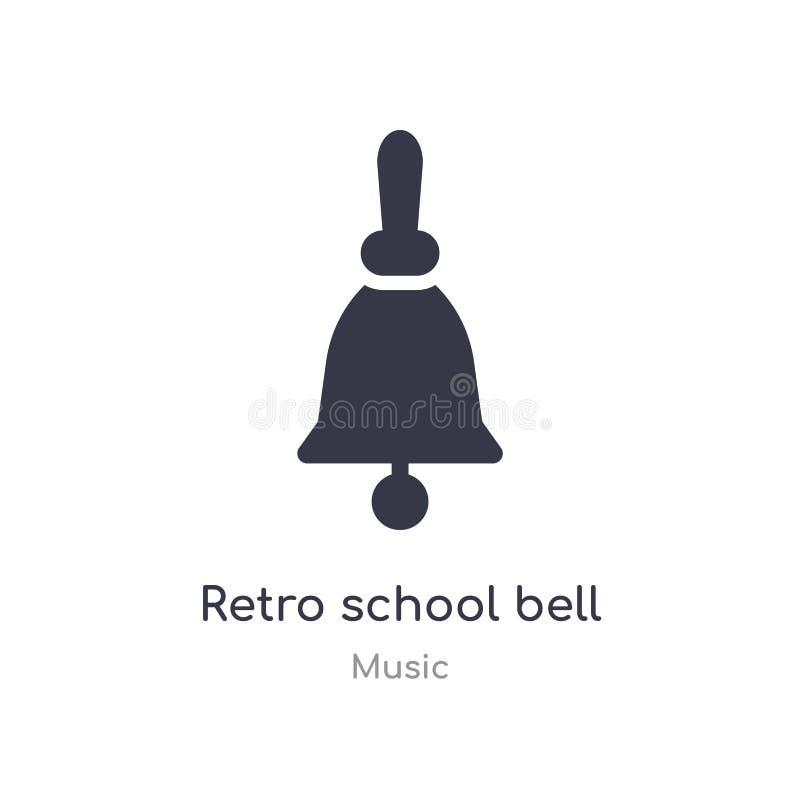 retro szkolnego dzwonu konturu ikona odosobniona kreskowa wektorowa ilustracja od muzycznej kolekcji editable cienieje uderzenie  ilustracja wektor