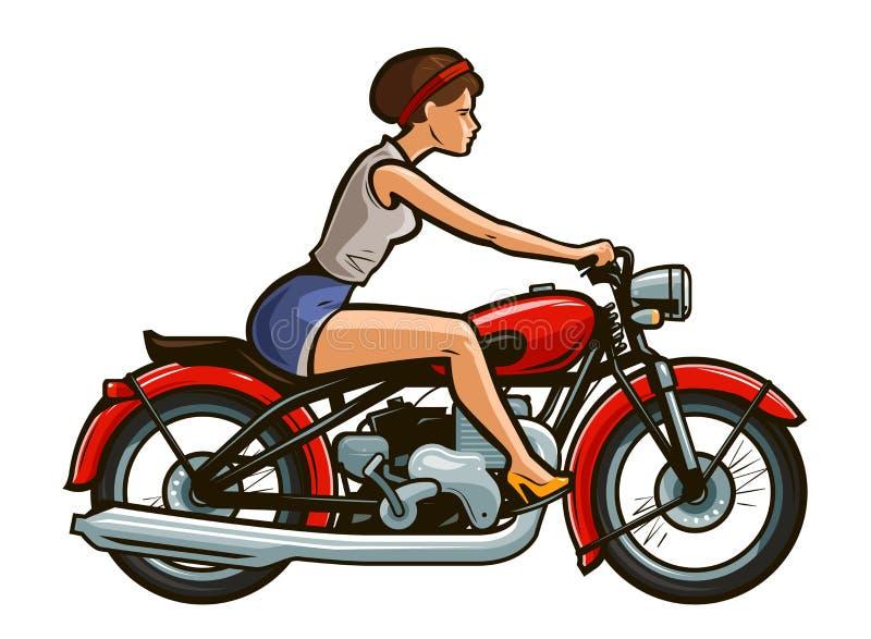 Retro szpilki dziewczyny jazda na motocyklu obcy kreskówki kota ucieczek ilustraci dachu wektor ilustracja wektor