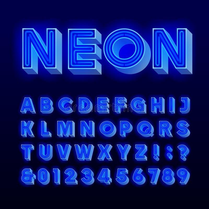 Retro szyldowy abecadło 3D rocznika błękitna neonowa lampa pisze list i liczby Signboard chrzcielnica royalty ilustracja