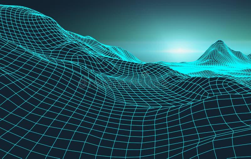 Retro tła 1980s futurystyczny krajobrazowy styl Cyfrowego cyber retro krajobrazowa powierzchnia Retro muzyczna album pokrywa royalty ilustracja