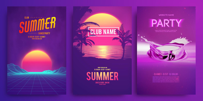 Retro tła 1980s futurystyczny krajobrazowy styl Przyjęcie koktajlowe, Elektronicznej muzyki fest, electro lato plakat royalty ilustracja