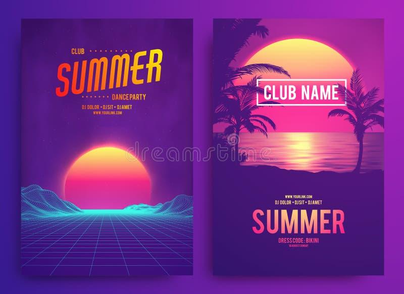 Retro tła 1980s futurystyczny krajobrazowy styl Przyjęcie koktajlowe, Elektronicznej muzyki fest, electro lato plakat ilustracja wektor