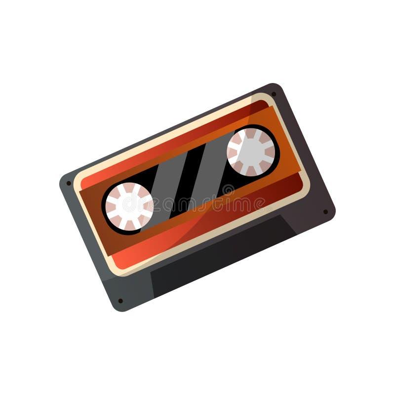 Retro taśmy muzyczna kaseta od plastikowego materiału dla starej muzyki, royalty ilustracja