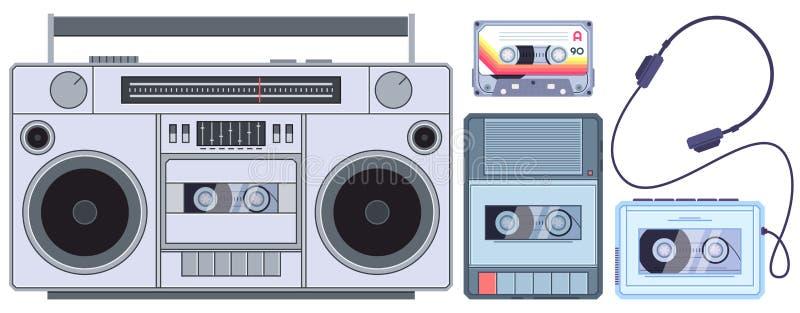 Retro ta?ma gracz Rocznik kasety odtwarzacze muzyczni, stary rozsądny pisak i audio kaset ilustracji wektorowy set, royalty ilustracja