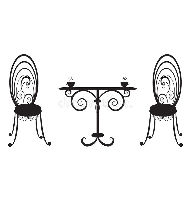 Retro- Tabelle und Stühle lizenzfreie stockbilder