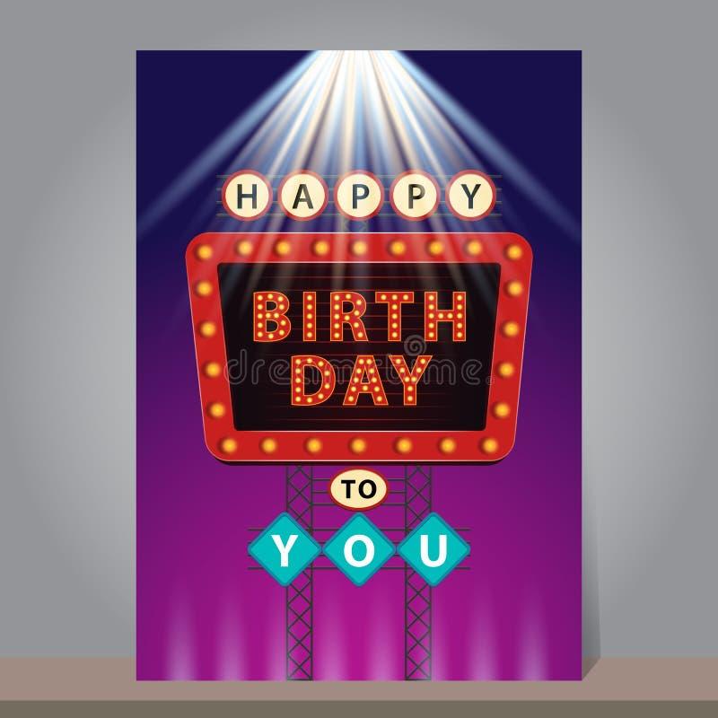 Retro tabellone per le affissioni di buon compleanno con le luci al neon d'ardore Progettazione royalty illustrazione gratis