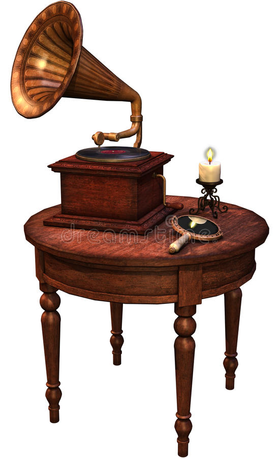Retro table with a gramophone royalty free illustration