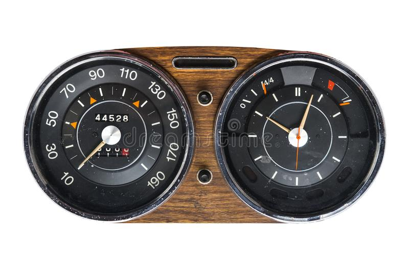 Retro tachometer of a vintage car royalty free stock photography